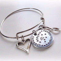 Hand stamped family charm expandable wire bangle