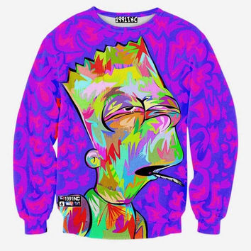 SUPER HIGH BART SIMPSON novelty crewneck sweat shirt