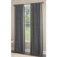 Shop allen + roth Gatton 63-in Grey Polyester Back Tab Room Darkening Single Curtain Panel at Lowes.com