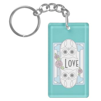 Cute Retro Owls & Roses Love Keychain for Women: Little Gift Idea for Wedding Favors, Valentine's Day, or Mother's Day: Girly Key Chains