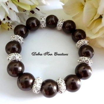 Swarovski Dark Brown Pearl Crystal Bracelet Fall Brown Wedding Bridal Bridesmaid Jewelry Brown Pearl Bracelet Mother of Bride Groom Formal