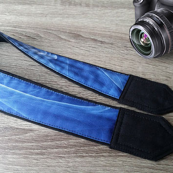 Abstract  Camera Strap. Cool Camera Strap. White Blue Camera Strap.   Photo Accessories