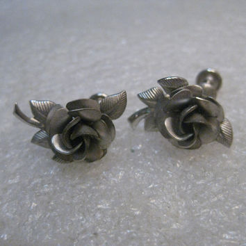 Vintage Sterling  Silver Rose Earrings, singed A & Z, 5 grams, 1960's