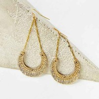 Stamped Crescent Drop Earring- Gold One