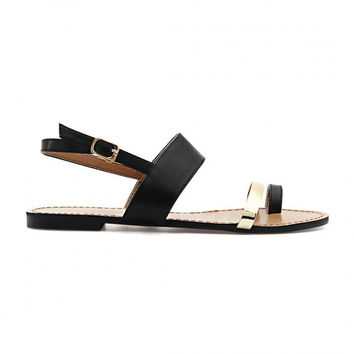Black Leather Look Gold Strap Looped Toe Flat Sandals