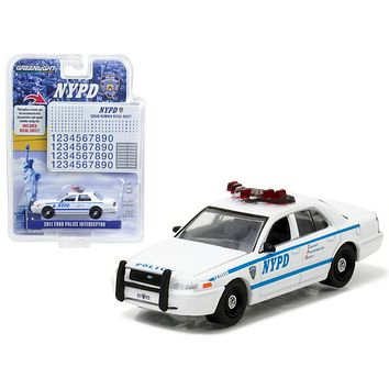 2011 Ford Crown Victoria Police New York Police Department (NYPD) with NYPD Squad Number Decal Sheet Hobby Exclusive 1/64 Diecast Model Car by Greenlight