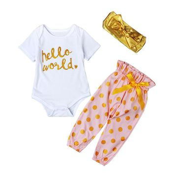 Abacaxi Kids Hello World Pink Gold Polka Dots Outfit 3-24 Months