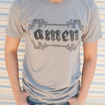"Gina ""Amen"" Embellished Athletic Grey Tee"