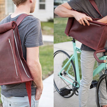 $265.00 Leather Biking Messenger Bag by jrawldesign on Etsy