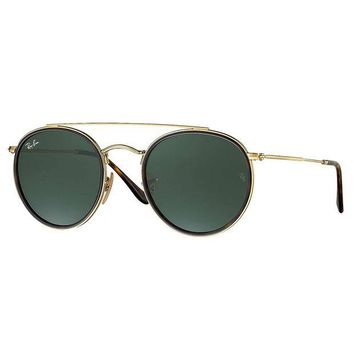 Kalete Ray-Ban Men's Round Double Bridge Metal Sunglasses, Gold