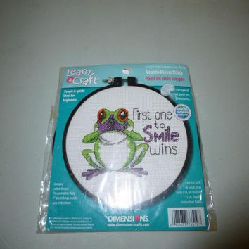 Learn a Craft Dimensions Frog First One To Smile Wins Counted Cross Stitch Kit For Beginners