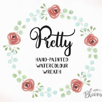 Watercolour Pretty Rose Wreath Clipart - Hand Painted Leaves INSTANT Download PNG & JPEG Wedding Roses Wedding Digital Art Elegant Garland