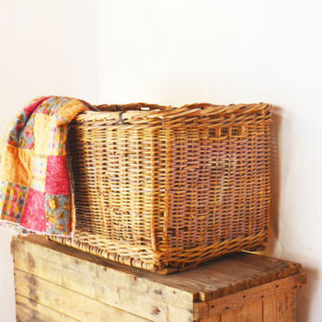 Extra Large Wicker Basket, Antique Cotton Picking Basket, Heavy Duty Woven Basket, Rectangular Storage Bin, Storage Basket, Farmhouse Basket