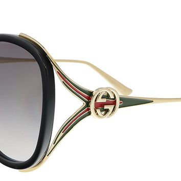 Gucci GG0226S 001 Black / Gold GG0226S Butterfly Sunglasses Lens Category 2 Siz