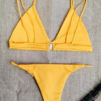 Unlined Solid Color Spaghetti Straps Bikini Set