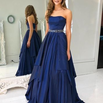 Evening Dress Satin Dark Blue Beaded Strapless Prom Dresses