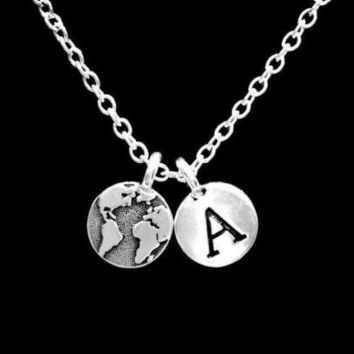 Earth Initial Letter Globe Map Geography Atlas Planet World Gift Necklace