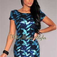 Blue Shades Sequined Low Back Short Sleeves Dress