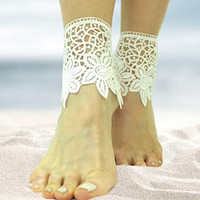 White guipure lace beach wedding barefoot sandals, bangle, wedding anklet, nude shoes, boho sandal, cuff