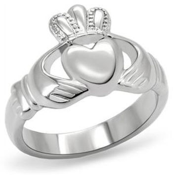 Steel Claddagh – Silver stainless steel traditional Irish ring design