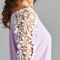 Lace Shoulder Top - Lavender