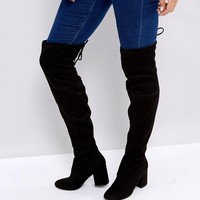 New Look Over the Knee Block Heeled Boot with Tie Back at asos.com