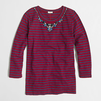 Factory three-quarter-sleeve jeweled necklace tee - long sleeve - FactoryWomen's Knits & Tees - J.Crew Factory