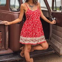 Amber Floral Mini Dress (Red)