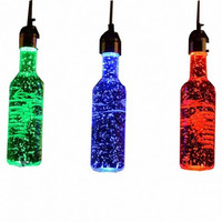 Northern euro dinning room bar counter coffee bar creative wine bottle Led glass color pendant lamp light