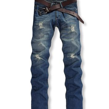 Streetstyle  Casual Trendy Ripped Light Wash Straight Mid-Rise Men's Jean