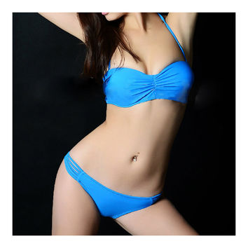 Women Swimwear Swimsuit Bikini Bathing Suit  blue  S