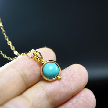 Tiny Gold Filled Turquoise Necklace - Simple  Turquoise Pendant - Single Wire Wrapped Turquoise  Tiny Gold Necklace
