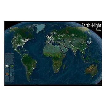 Earth at Night Glow in the Dark Wall Art - Peel N Stick College Wall Decor Essentials For College Cool Dorm Stuff
