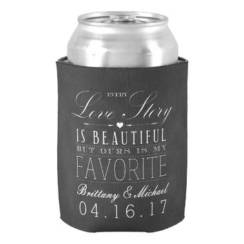 Love Story Chalkboard Vintage Wedding Can Cooler