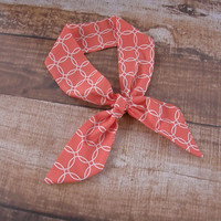 Ready To Ship Coral and White Top Knot Headband Head Tie Head Wrap Head Scarf