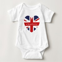 Personalized Name UK Flag Heart Baby Bodysuit