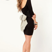 LULUS Exclusive Two for the Bow Black Dress