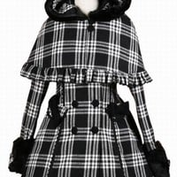 Sweet Black and White Plaid Hooded Double-breasted Lolita Coat