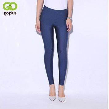 GOPLUS 2017 Solid Candy Color Neon Legging for Women High Waist Stretched Leggings Elastic Clothing Plus Size Ankle Length Pants
