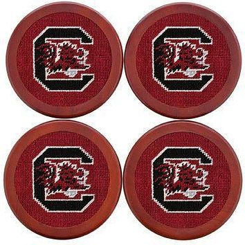 University of South Carolina Needlepoint Coasters in Garnet by Smathers & Branson