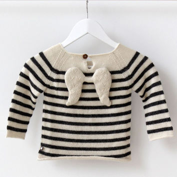 Oeuf | Angel Sweater | White and Grey Stripes