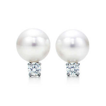 Tiffany & Co. - Tiffany Signature™ earrings in 18k white gold with Akoya pearls and diamonds.