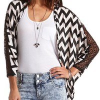 Crochet Trim Chevron Cocoon Cardigan by Charlotte Russe - Black Combo