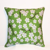 "Pillow Covers 18"" Set of Two - Green and White Floral Pattern"