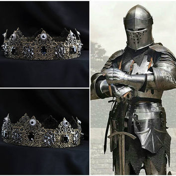 Metal Knight Medieval Times, Medieval Crown, Custom Wedding Crown, Male Headpiece, Renaissance Wedding, Tudor, Design Your Own Crown
