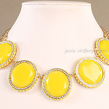 Yellow Statement Necklace,Yellow  Cluster Necklace, Yellow  Beads Jewelry , Yellow Bubble Necklace, Resin Jewelry (FN0675-Yellow )