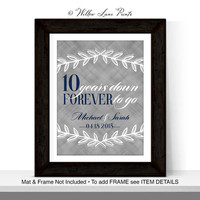 10th anniversary gift for husband wife, custom gift for him her, 10 years down forever to go, 10 year wedding anniversary gift for men women