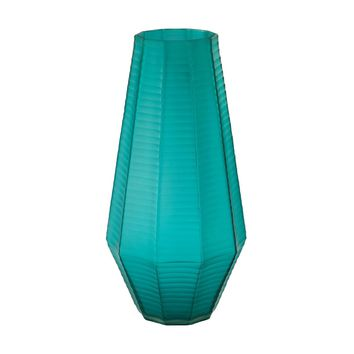 Stacked Cuts Glass Vase Teal