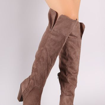 Qupid Suede Almond Toe Over-The-Knee Chunky Heeled Boots