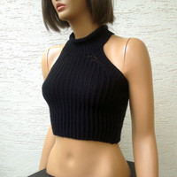 Knitted womens cropped sweater, racer back crop top, sexy top, Rihannas Knit Top, summer cotton top, black top,summer shrug, womens sexy top